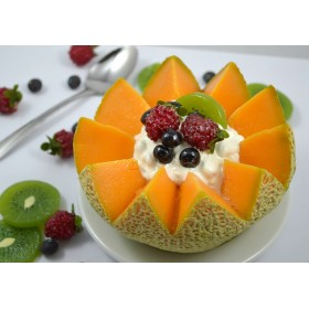 Cantaloupe Crown with Fruit & Cottage Cheese