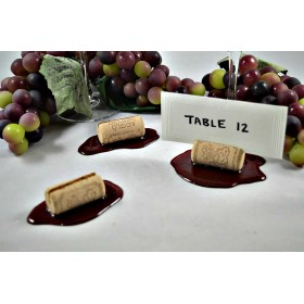 Cork Place Card Holders w/Spilled Wine (set of 3)